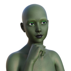 Illustration of a green alien female with a thoughtful expression