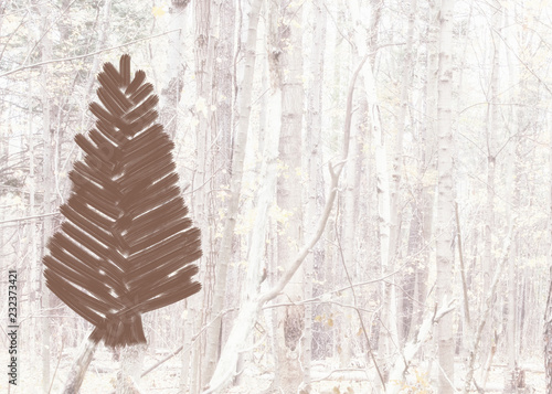 Country Christmas Background.Country Christmas Tree In Brown Placed Against An Abstract