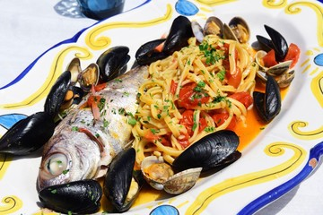 Fish plate in the restaurant Le Terrazze di Eolo, Stromboli Island, Lipari or Aeolian Islands, Sicily, Italy, Europe