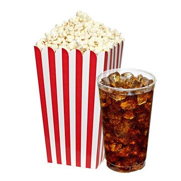 Cola with popcorn box isolated on white background