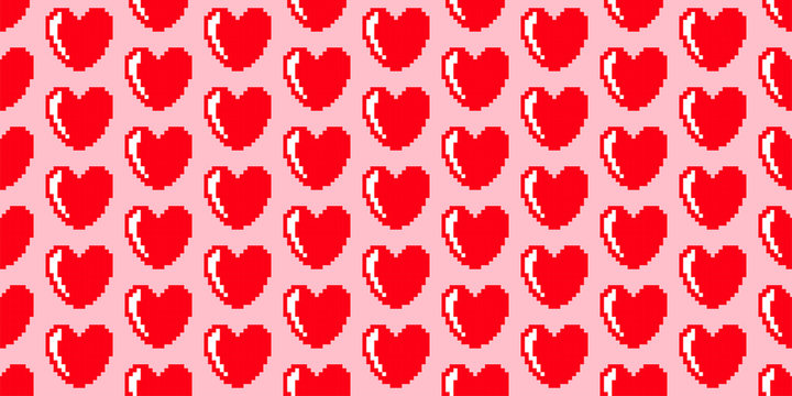 Background of red pixel hearts. Texture. Seamless.