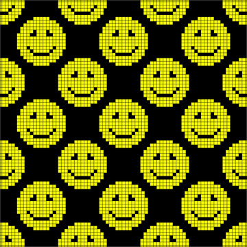 Pixel emoticons on a black background. Seamless background. Close-up. Texture.