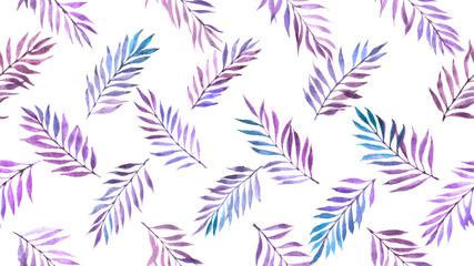 watercolor leaves seamless pattern
