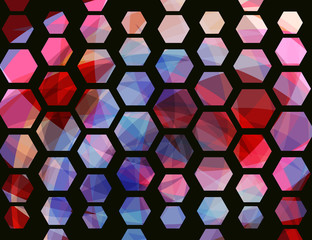 Abstract geometric background. Hexagon shape. Vector illustration with halftone effect.
