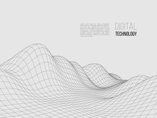 Wireframe polygonal landscape. Digital 3d terrain. Vector illustration.