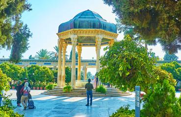 Walk in garden of Hafez Tomb, Shiraz, Iran