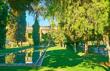 The fountains in Mussala Gardens, Shiraz, Iran