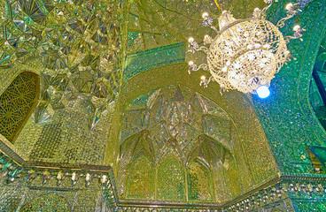 Details of Mirror Hall of Imamzadeh Ali Ibn Hamzeh Holy Shrine, Shiraz, Iran