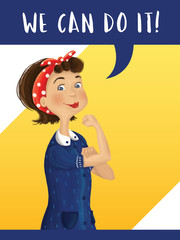 Cartoon Rosie the Riveter illustration. We can do it. Poster design.