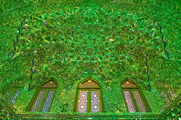 The intricate decoration of Imamzadeh Ali Ibn Hamzeh Holy Shrine, Shiraz, Iran