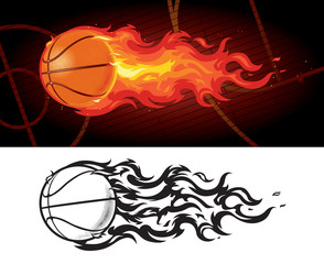 Flaming Basketball Design, Color and Black & White