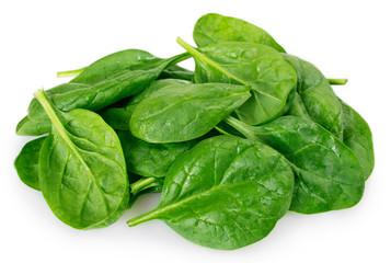 Fototapete - Fresh spinach on white background