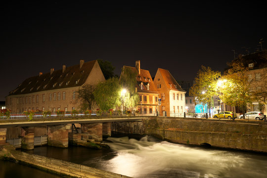 Strasbourg,France-October 13, 2018: the Vauban Dam or the the Great Lock or the Barrage Vauban is a bridge, weir and defensive work erected in the 17th century on the River Ill in Strasbourg, France