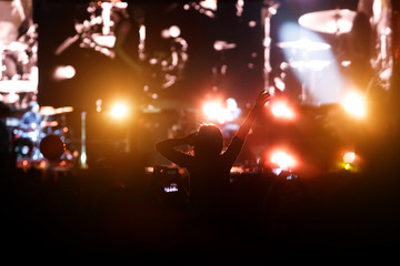 silhouette of a girl at a concert, the pleasure of the show