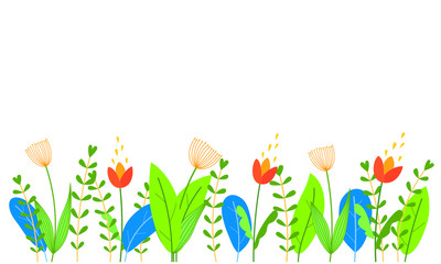 Cute flowers, leaves and grass in flat style.