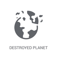 Destroyed planet icon. Trendy Destroyed planet logo concept on white background from Astronomy collection