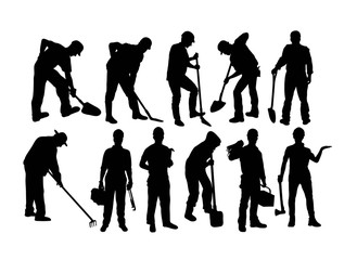 Worker and Farmer Silhouettes, art vector design