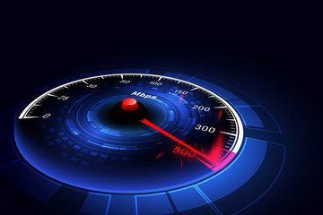 High speed internet connection ideas, speedometer and internet connection. Vector illustrations