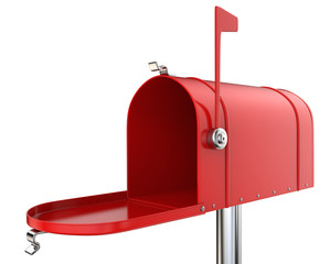 Mailbox. Classic Mailbox, open and empty. Red and isolated on white background. 3D render.