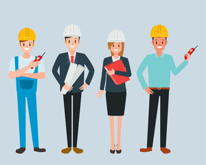 Engineer and mechanic and technician people worker teamwork. industry character vector design.