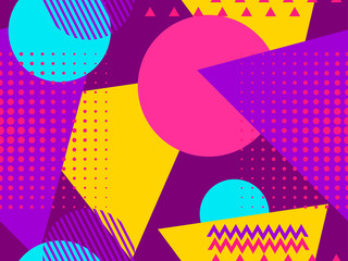 Memphis seamless pattern. Geometric elements memphis in the style of 80s. Points and dotted lines. Vector illustration