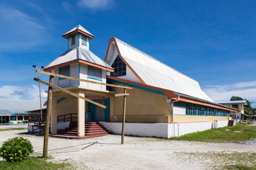 Most prominent building on Funafuti atoll is Fetu Ao Lima (Morning Star Church) of the Church of Tuvalu. Polynesia, Oceania, South Pacific Ocean.