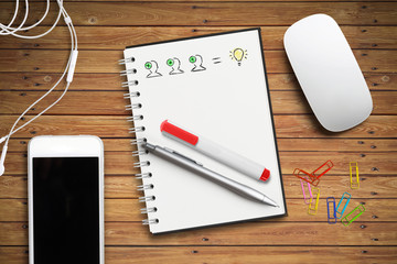 Schreibblock mit Ideen-Skizze