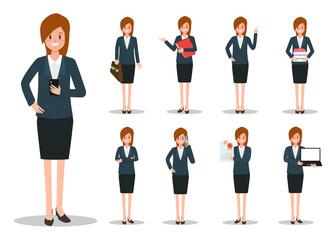 Businesswoman working character set vector design. Cartoon animated character.