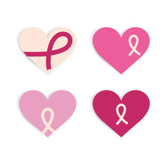 Breast cancer heart flat design. Cancer day and pink ribbon background. Heart icon vector.
