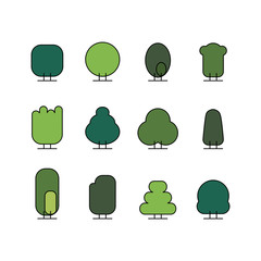 green tree outline doddle icon.natural and ecology vector line art illustration isolated. park pictogram.