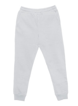 Blank training jogger pants color white front view on white background