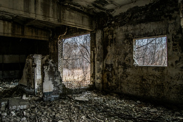 Interior of an old destroyed house