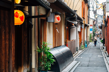 Pontocho, Japanese old restaurant and pub alley in Kyoto, Japan
