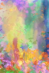 painterly colorful abstract on paper, paint, ink splash and watercolors hand painted unique background design