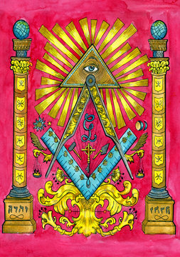 Freemasonry concept with columns, all seeing eye and pyramid. Occult and esoteric colorful illustration, mysterious gothic background