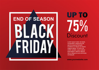 Black friday end of season web banner template with discount vector illustration eps 10.