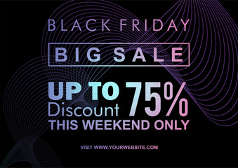 Modern black friday web banner and poster template with neon abstract geometric design. Glowing light good for electronic shopping sale. Vector illustration eps 10.