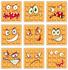 Set of waffle facial expression