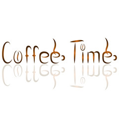 Coffee Time calligraphy Lettering Inscription. Coffee Time Concept. Isolated on White Background. Hand written postcard. Cute simple vector sign grunge style. Textile print