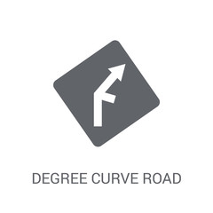 degree curve road sign icon. Trendy degree curve road sign logo concept on white background from Traffic Signs collection