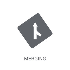 Merging sign icon. Trendy Merging sign logo concept on white background from Traffic Signs collection