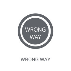 Wrong Way sign icon. Trendy Wrong Way sign logo concept on white background from Traffic Signs collection