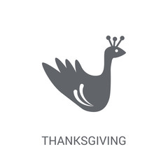 Thanksgiving peacock icon. Trendy Thanksgiving peacock logo concept on white background from United States of America collection