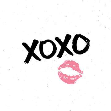 XOXO brush lettering sign, Grunge calligraphic hugs and kisses Phrase, Internet slang abbreviation XOXO symbols, vector illustration isolated on white background