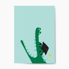 Aquatic cartoon crocodile wearing a graduation hat vector