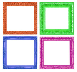 Set  antique colorful frame isolated on white background
