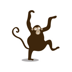 Cute wild monkey cartoon illustration