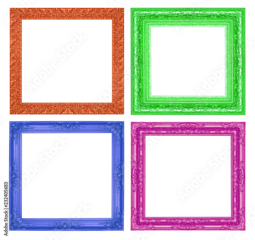 469e91709564 Set antique colorful frame isolated on white background