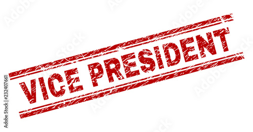 VICE PRESIDENT seal watermark with grunge texture  Red