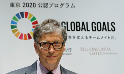 Bill Gates, co-chair of the Bill & Melinda Gates Foundation, attends a news conference as the foundation teams up with the Japan Sports Agency and Tokyo 2020 to promote the Sustainable Development Goals in conjunction with the Olympics, in Tokyo